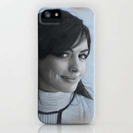 Anne Hathaway Sketch iPhone Case