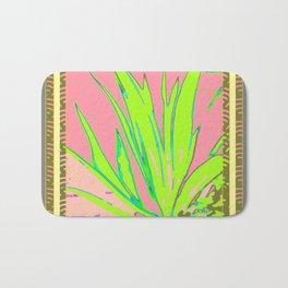 Chartreuse Plant Foliage Pink-Grey Patterns Bath Mat