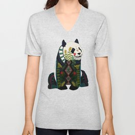 panda orange Unisex V-Neck