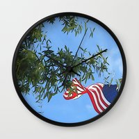 american flag Wall Clocks featuring American Flag  by KCavender Designs