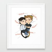 destiel Framed Art Prints featuring Feline!Destiel by Tsuki-Nekota