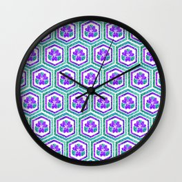 Purple Flowers Wall Clock