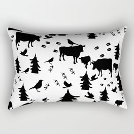 Cow Out In the Pasture by Lorloves Design Rectangular Pillow