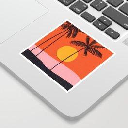 Beach with Orange Sky Sticker