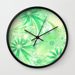 Pastel Green Wildflowers Wall Clock