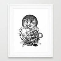 satan Framed Art Prints featuring Satan cat by Yulia Hochulia