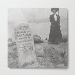 Eaten by Mountain Rats, Erin O'Keefe Epitaph - Pikes Peak Gravestone black and white photograph Metal Print