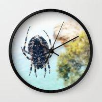 spider Wall Clocks featuring Spider by Bor Cvetko