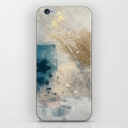 Embrace: a minimal, abstract mixed-media piece in blues and gold with a hint of pink iPhone Skin