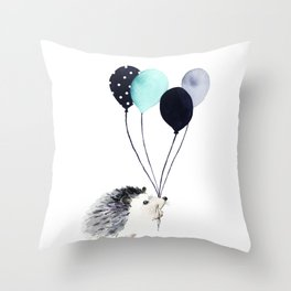 Hedgehog With Balloons Throw Pillow