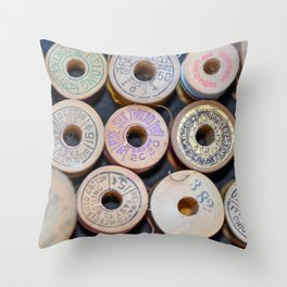 Wooden Spools Throw Pillow