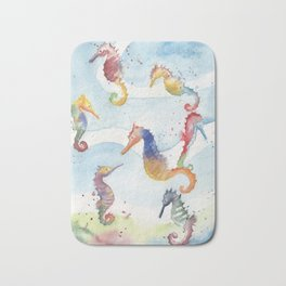 Colorful Seahorses Bath Mat