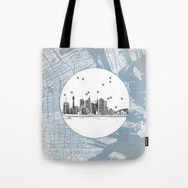 Sydney, New South Wales, Australia City Skyline Illustration Drawing Tote Bag