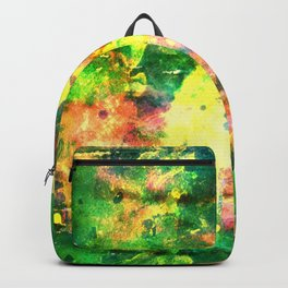 Colorful Watercolor Abstract background. Multicolor grunge psychedelic green yellow texture tie dye Backpack