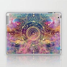Gold watercolor and nebula mandala Laptop & iPad Skin