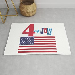 4th of July Happy Independence Day Patriotic American flag & stars Rug
