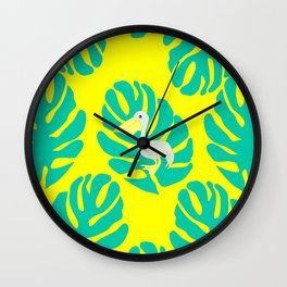 Pelican and monstera leaves Wall Clock