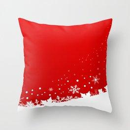 Red Snowflake Scene Throw Pillow