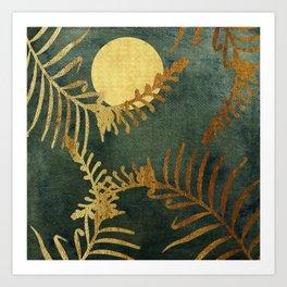 Golden Cycas leaves on dark green canvas Art Print