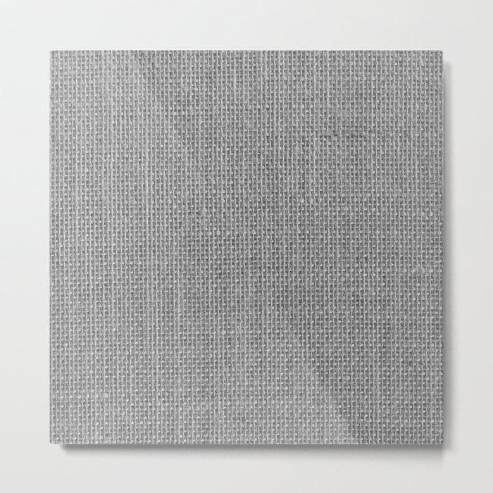 Natural Woven Silver Grey Burlap Sack Cloth Metal Print