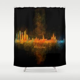 Moscow City Skyline art HQ v4 Shower Curtain