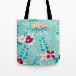 Exotic Flower Pattern Tote Bag