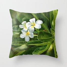 White Plumeria Leaves Throw Pillow