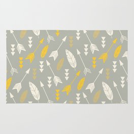 Bohemian feathers and arrows, beige and yellow on gray Rug