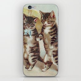 Vintage Cats Walking with Parasol iPhone Skin