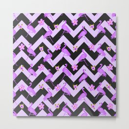 Black and Purple Zig Zag With Flamingos and hawaiian flowers Pattern Metal Print