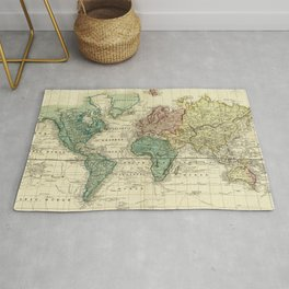 Vintage Map of The World (1823) Rug