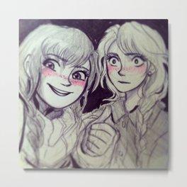 Sister Selfie Metal Print