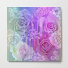 Roses, tiny flowers & leaves on an abstract background Metal Print