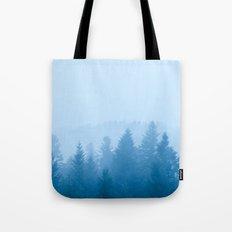 Fog over forest Tote Bag
