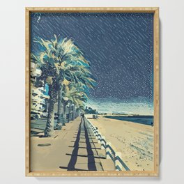 La Croisette Cannes Landscape with the sea and the beach Serving Tray