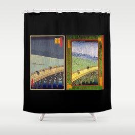 """Hiroshige,""""Sudden Shower Over Shin-Ohashi Bridge and Atake"""" & Van Gogh,""""Bridge in the rain"""" Shower Curtain"""