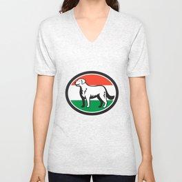 Kuvasz Dog Hungarian Flag Oval Retro Unisex V-Neck