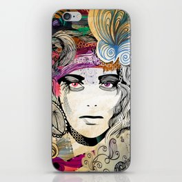 colorful floral girl iPhone Skin