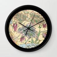 tiffany Wall Clocks featuring tiffany garden by Ariadne