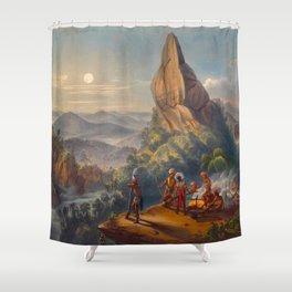 Ataraipu Or The Devil's Rock Illustrations Of Guyana South America Natural Scenes Hand Drawn Shower Curtain