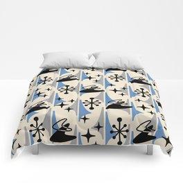 Mid Century Modern Cosmic Boomerang 726 Black Blue and Gray Comforters