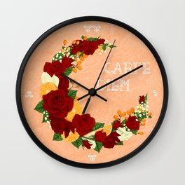 Crescent Bloom | Red roses and oranges Wall Clock