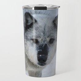 Lone wolf roams the Canadian Rockies Travel Mug