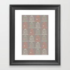 Bird Cage Pattern, Illustration, Shabby Chic, Vintage, Framed Art Print