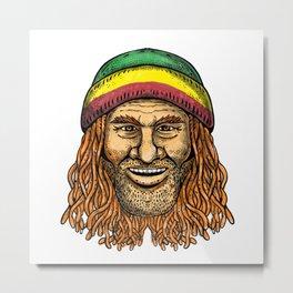 Rastafarian Dude Tattoo Color Metal Print