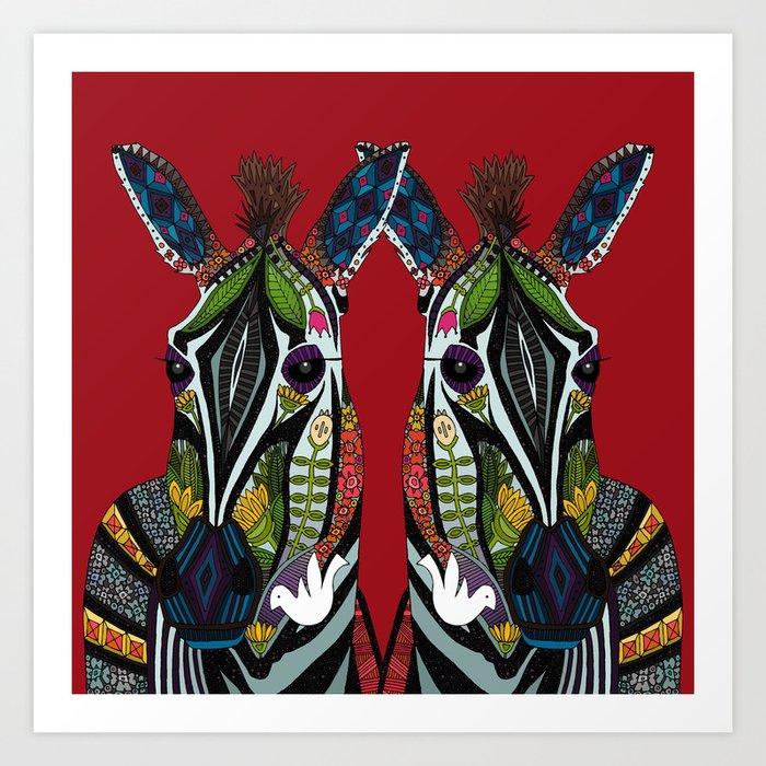 zebra love red Art Print