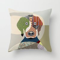 beagle Throw Pillows featuring Beagle by Lanre Studio