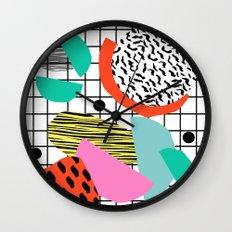 Posse - 1980's style throwback retro neon grid pattern shapes 80's memphis design neon pop art Wall Clock