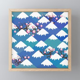 Spring Nature background with Japanese cherry blossoms, sakura pink flowers landscape. blue mountain Framed Mini Art Print