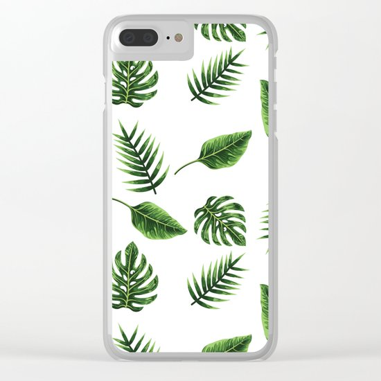 TROPICAL LEAVES 3 Clear iPhone Case